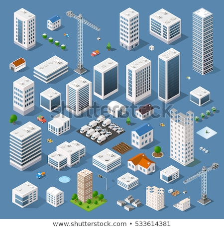 Vector isometric city buildings set Stock photo © tele52
