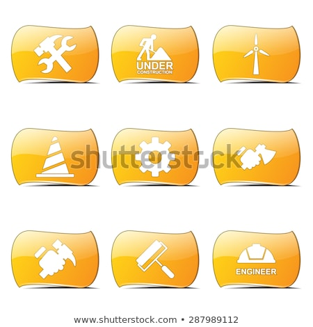 construction tools yellow vector buttonicon design set stock photo © rizwanali3d