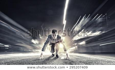 üzletember kész pozició izolált üzlet munka Stock fotó © fuzzbones0