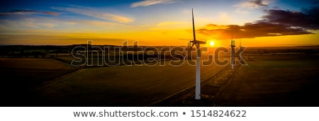 windmills in motion at sunrise sunset time stock photo © jaffarali
