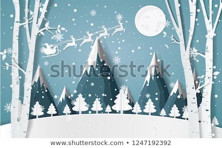 Santa in birch tree forest, vector Stock photo © beaubelle