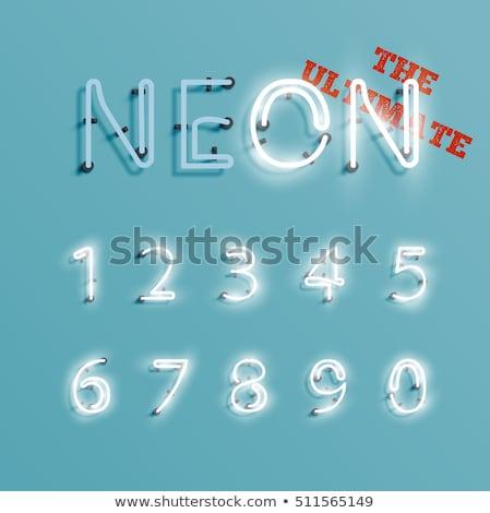 Stock fotó: Fehér · izzó · neon · számok · használt · minta