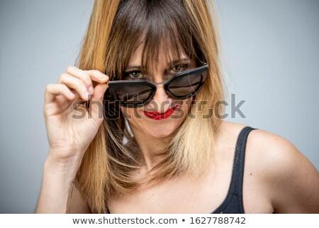 Mooie charmant jonge vrouw lang haar zwarte beha Stockfoto © deandrobot