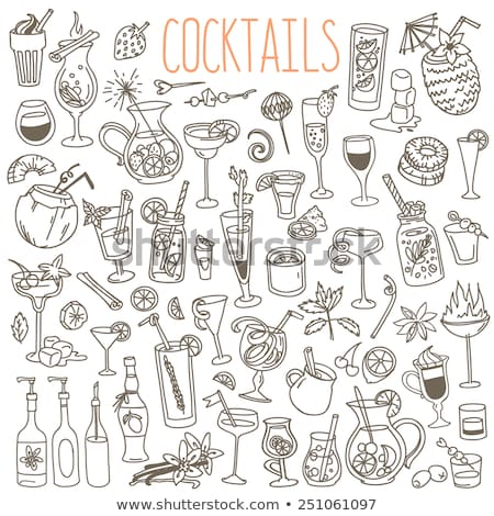 Doodle vector cocktails Stock photo © netkov1