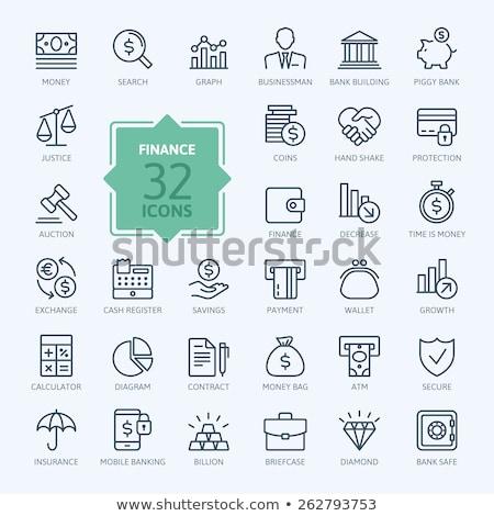 бизнесмен · зонтик · линия · икона · уголки · веб - Сток-фото © RAStudio