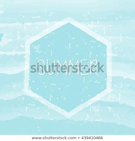Summer In Hexagon Frame Over Blue Waves Grunge Drawn Label Stockfoto © marinini