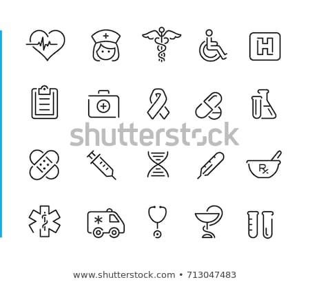 orvosi · szimbólumok · szett · kórház · felirat · piros - stock fotó © bluering