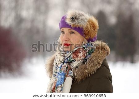 Güzel olgun kadın doğal kürk portre orta yaşlı Stok fotoğraf © svetography