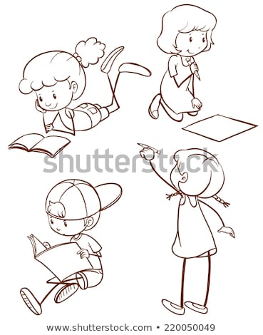 A simple sketch of a young kid reading Stock photo © bluering