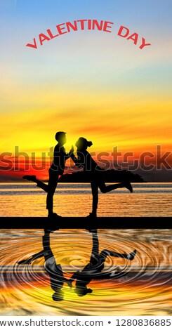 Gün batımı tatil zaman tatlı deniz plaj Stok fotoğraf © bank215