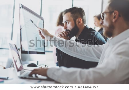 Desktop computer with Finance Report Accounting Statistics and charts on screen, business concept Stock photo © Customdesigner