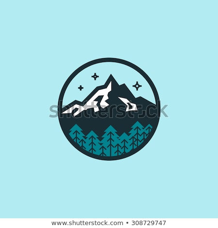 Vector mountain emblem in outline style. Stock photo © tandaV