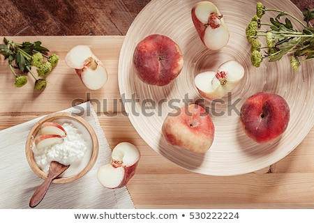 Stock fotó: Breakfast With Ripe Peaches And Cottage Cheese On Wood Board Background Top View