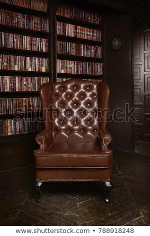 Foto stock: Quarto · marrom · cadeiras · prateleiras · para · livros · ilustração · casa