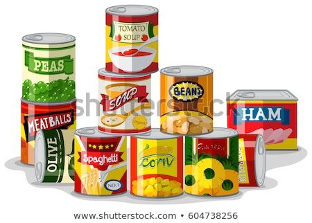 Spaghetti and ham in canned food Stock photo © bluering