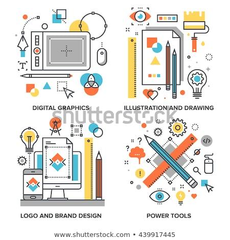 видение икона дизайна логотип бизнеса интернет Сток-фото © sdCrea