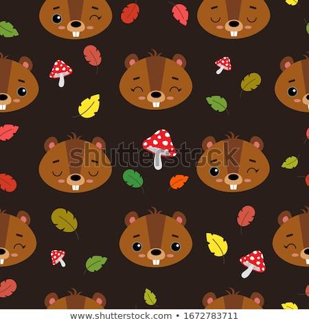 cute beaver kids cartoon illustration stock photo © vectorikart