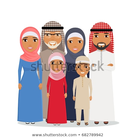 Arab Grandparents with grandchildren together in a flat style. G Stock photo © NikoDzhi