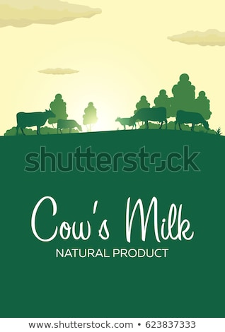 Milk natural product. Rural landscape with mill and cows. Dawn in the village. Stock photo © Leo_Edition