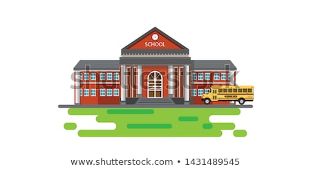 illustration of school building and yellow bus. Stock photo © curiosity