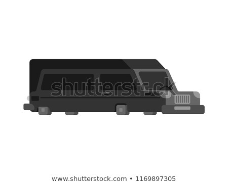 Hearse flat style isolated. Carriage of corpses for cemetery. Bl Stock photo © MaryValery