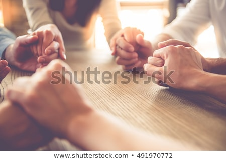 Mulher oração mãos juntos preto feliz Foto stock © wavebreak_media
