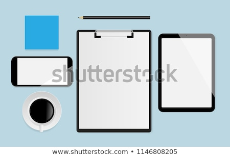 Laptop with blank notepad and pencil with set of color samples on old wooden table stock photo © Sibstock