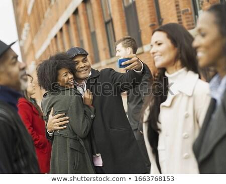 Nő göndör haj csók üzletember megrémült kreatív Stock fotó © wavebreak_media