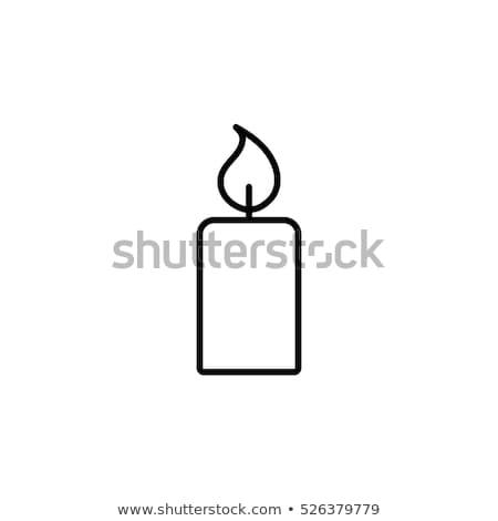 Cera vela ícone branco preto fogo Foto stock © Imaagio