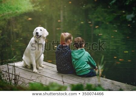 Menino cão menina amigos amizade dia Foto stock © orensila