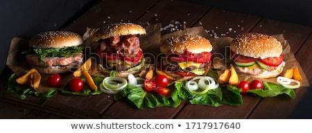 Nyami hamburger illusztráció mintázott étel sajt Stock fotó © get4net