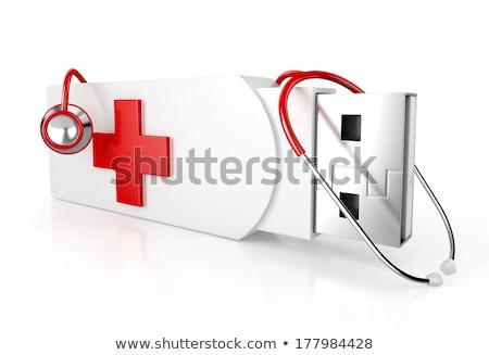 Tecnología de la información portapapeles 3D negocios escritorio Foto stock © tashatuvango