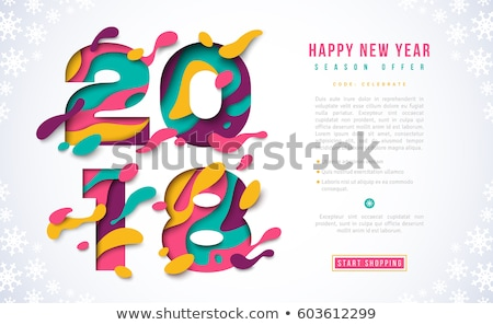 happy new year 2018 illustration with 3d number and ornamental ball on shiny confetti background ve stock photo © articular