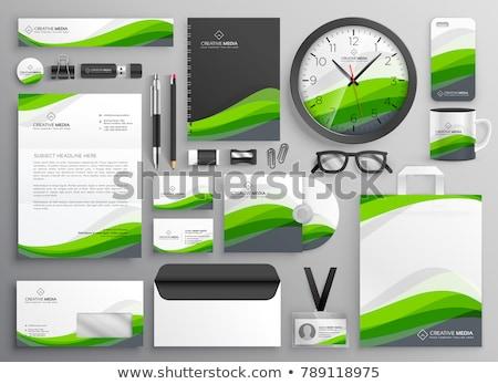 Zdjęcia stock: Zielone · falisty · działalności · materiały · biurowe · zestaw · szablon