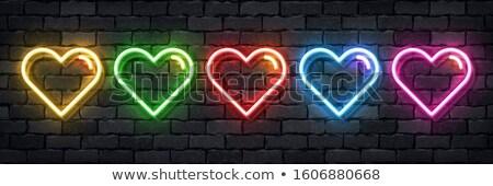 love heart yellow neon banner stock photo © voysla