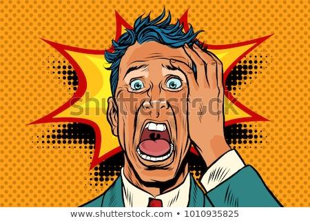 Pop art pánik arc férfi vicces retro Stock fotó © studiostoks