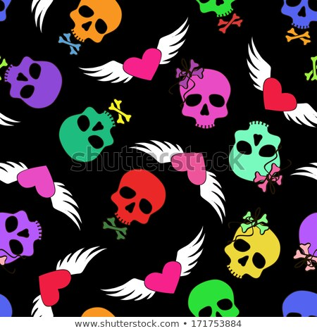Skull with wings seamless pattern. Background of  winged head sk Stock photo © popaukropa