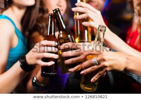 sarhoş · kadın · şarap · kadehi · el · erotik · elbise - stok fotoğraf © csdeli