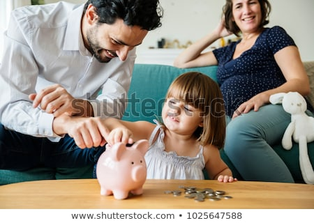 piggy · bank · casa · 3D · gerado · quadro · telhado - foto stock © is2