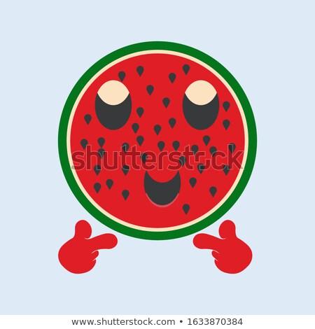Verde anguria frutta fresca mascotte carattere occhiali da sole Foto d'archivio © hittoon