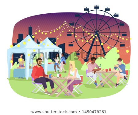 Couple by fairground stall Stock photo © IS2