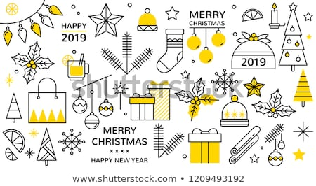 happy new year set of icons christmas toy stock photo © foxysgraphic