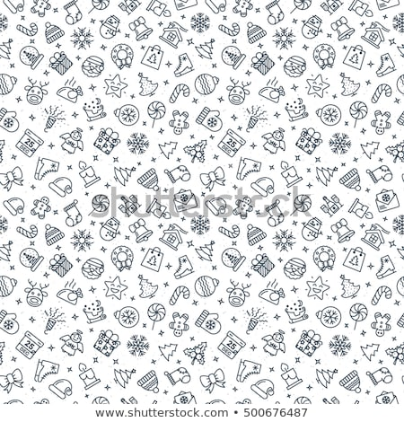 happy new year icon set of flat design snowman pattern stock photo © foxysgraphic