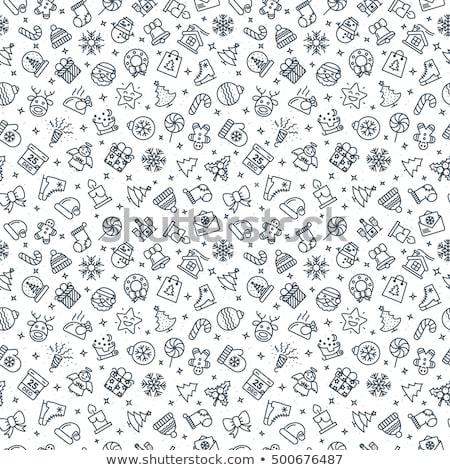 Gelukkig nieuwjaar ontwerp sneeuwpop patroon vrolijk Stockfoto © FoxysGraphic