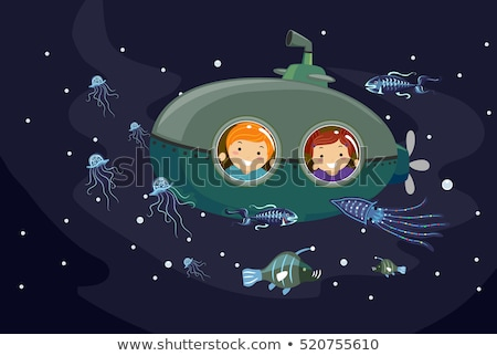 Stickman Kids Submarine Bioluminescence Animals Stock photo © lenm