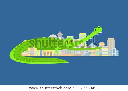 Crocodile Eat city. Rampage mythical monster destroys town. Stock photo © popaukropa