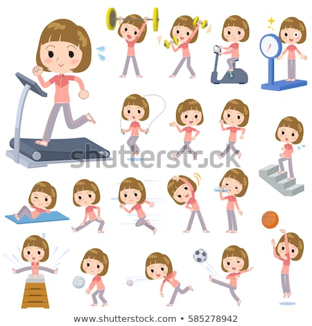 Straight bangs hair pink wear woman Sports & exercise Stock photo © toyotoyo