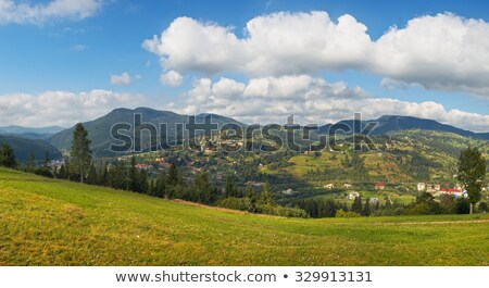 Lata górskich w. dziedzinie stóg siana starych Zdjęcia stock © wildman
