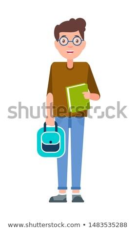 Male Student Teenage Schoolboy Freshman in Glasses Stock photo © robuart