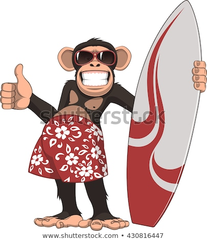 Karikatür gülen sörfçü şempanze mutlu Stok fotoğraf © cthoman